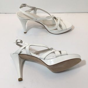 Stuart Weitzman Axis White Patent Leather Sandals